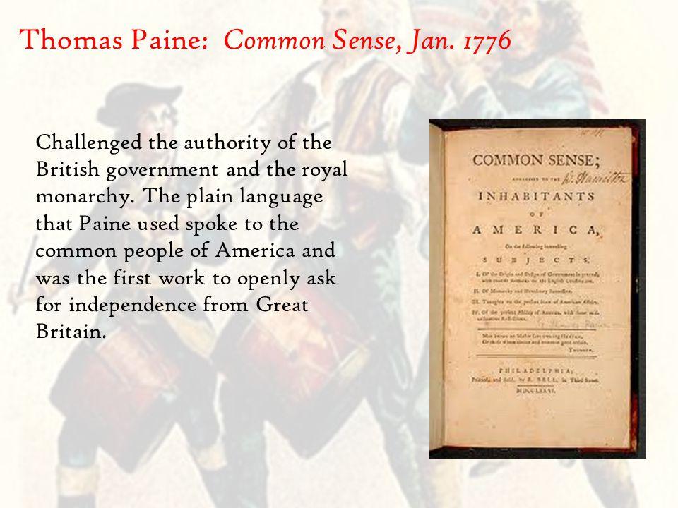 Thomas Paine: Common Sense, Jan.