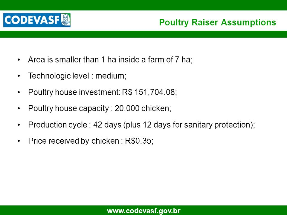 16 www.codevasf.gov.br Poultry Raiser Assumptions Area is smaller than 1 ha inside a farm of 7 ha; Technologic level : medium; Poultry house investment: R$ 151,704.08; Poultry house capacity : 20,000 chicken; Production cycle : 42 days (plus 12 days for sanitary protection); Price received by chicken : R$0.35;