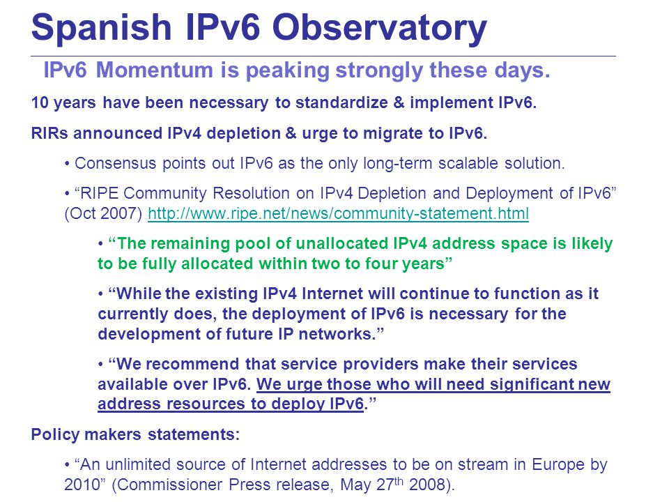 Spanish IPv6 Observatory ____________________________________________________________________________________________________________________________________________ IPv6 native traffic shows relevant growth at AMS-IX.