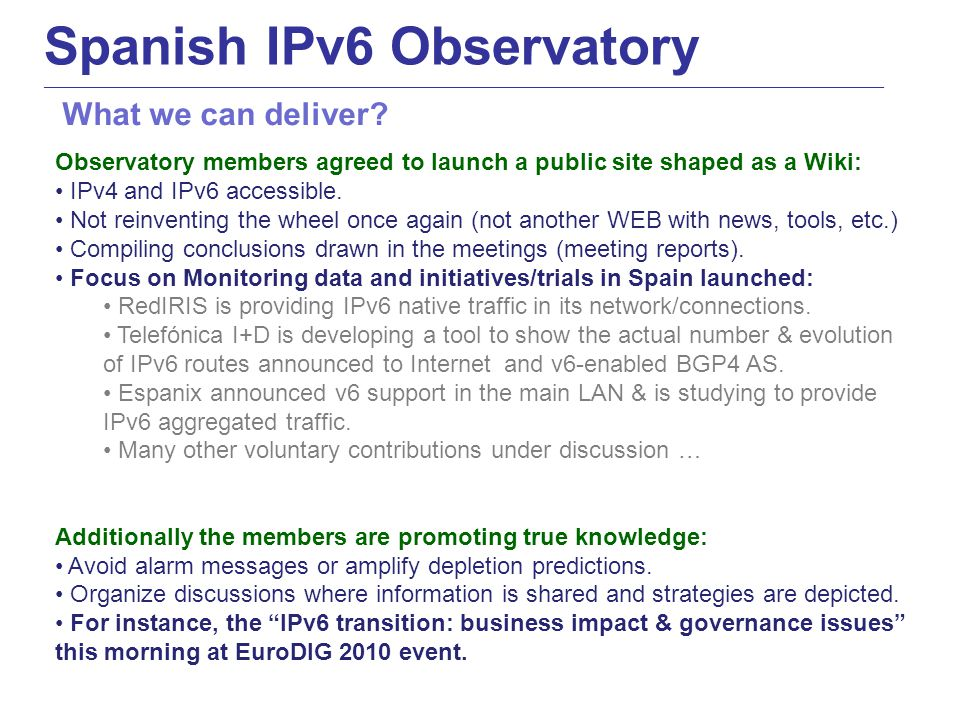 Observatory members agreed to launch a public site shaped as a Wiki: IPv4 and IPv6 accessible.