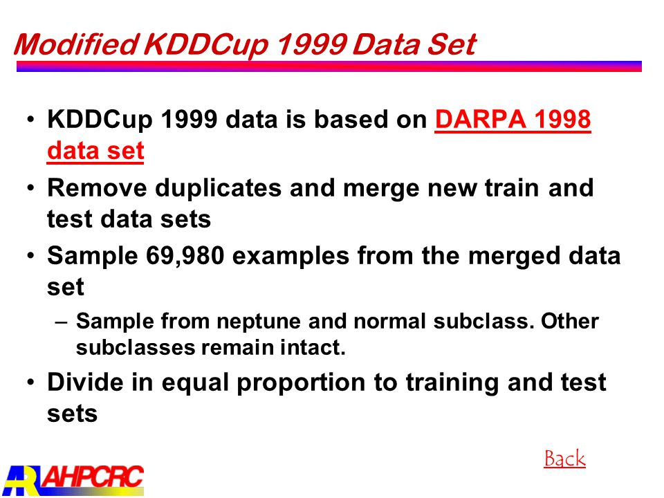 Modified KDDCup 1999 Data Set KDDCup 1999 data is based on DARPA 1998 data setDARPA 1998 data set Remove duplicates and merge new train and test data