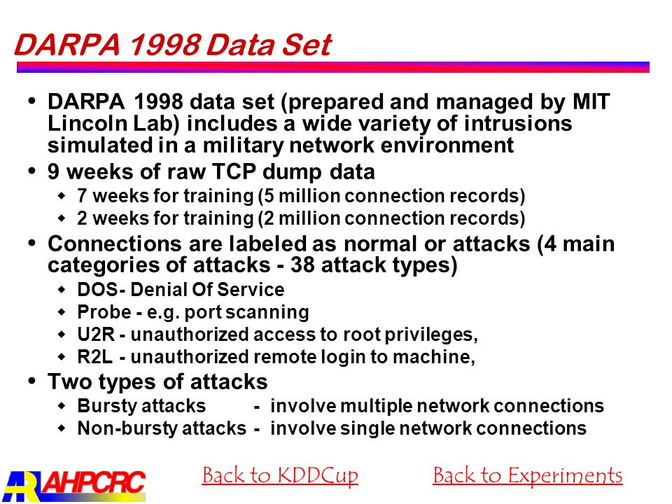 DARPA 1998 Data Set  DARPA 1998 data set (prepared and managed by MIT Lincoln Lab) includes a wide variety of intrusions simulated in a military netw