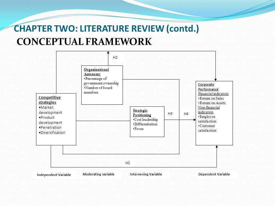 CHAPTER TWO: LITERATURE REVIEW (contd.) CONCEPTUAL FRAMEWORK Competitive strategies Market development Product development Penetration Diversification