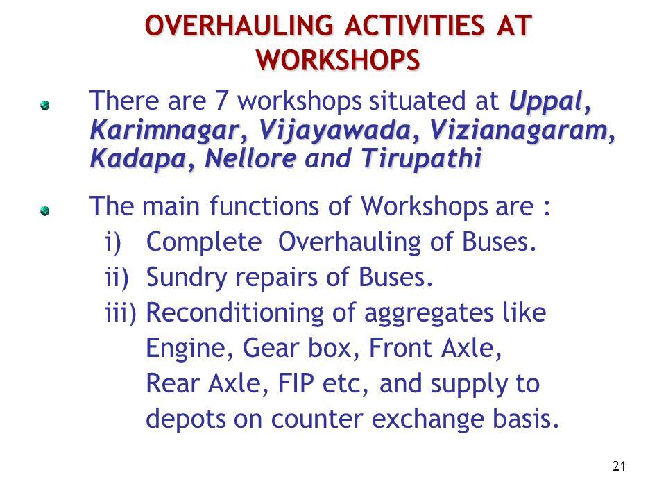 21 Uppal, Karimnagar, Vijayawada, Vizianagaram, Kadapa, Nellore Tirupathi There are 7 workshops situated at Uppal, Karimnagar, Vijayawada, Vizianagaram, Kadapa, Nellore and Tirupathi The main functions of Workshops are : i) Complete Overhauling of Buses.