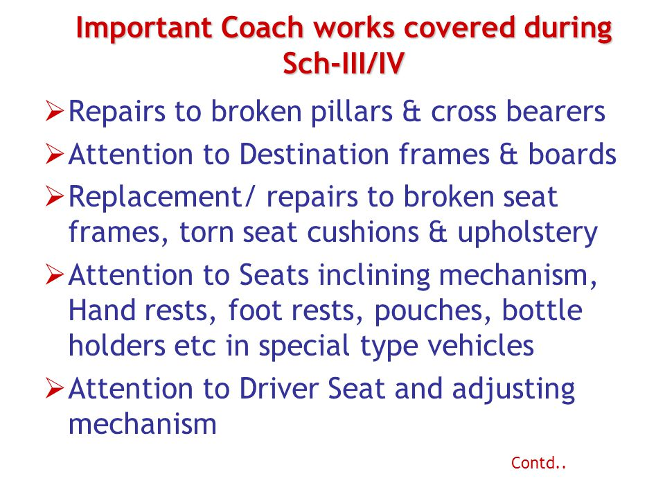 Important Coach works covered during Sch-III/IV  Repairs to broken pillars & cross bearers  Attention to Destination frames & boards  Replacement/