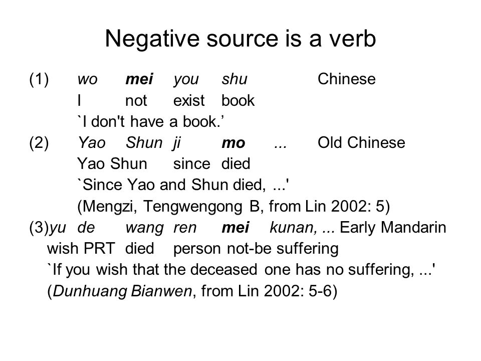Negative source is a verb (1)womeiyoushuChinese Inotexistbook `I don't have a book.' (2)YaoShunjimo... Old Chinese Yao Shun since died `Since Yao and