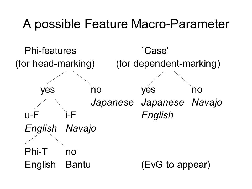 A possible Feature Macro-Parameter Phi-features `Case' (for head-marking)(for dependent-marking) yesnoyesno JapaneseJapaneseNavajo u-Fi-FEnglish Engli