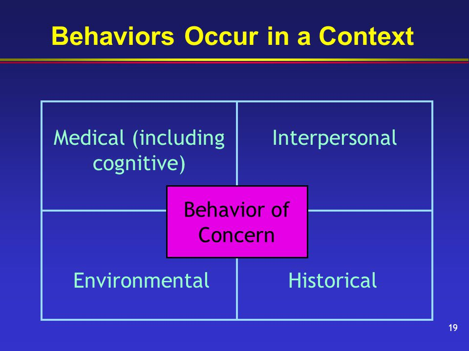 Behaviors Occur in a Context Medical (including cognitive) Interpersonal EnvironmentalHistorical Behavior of Concern 19
