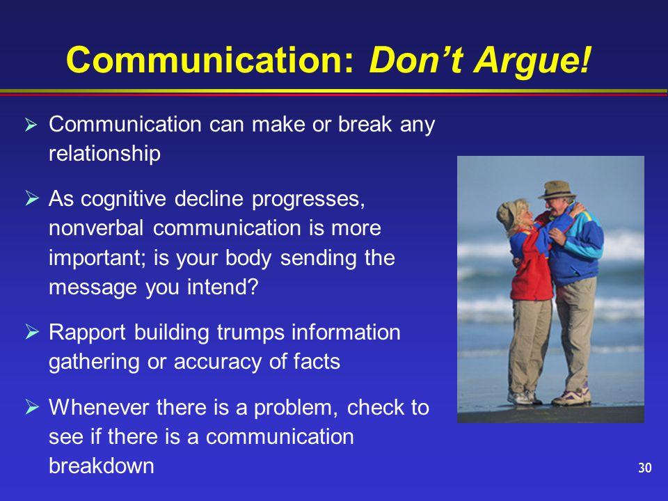 Communication: Don't Argue.