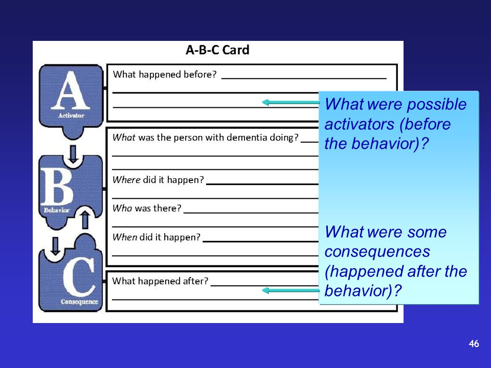 What were possible activators (before the behavior).