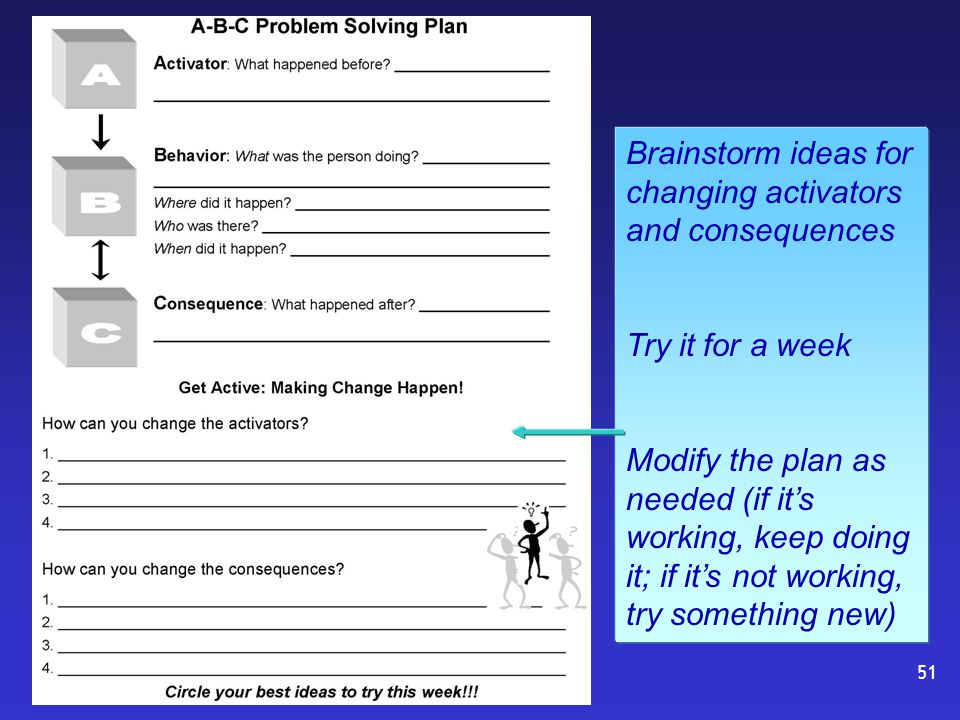 Brainstorm ideas for changing activators and consequences Try it for a week Modify the plan as needed (if it's working, keep doing it; if it's not working, try something new) 51