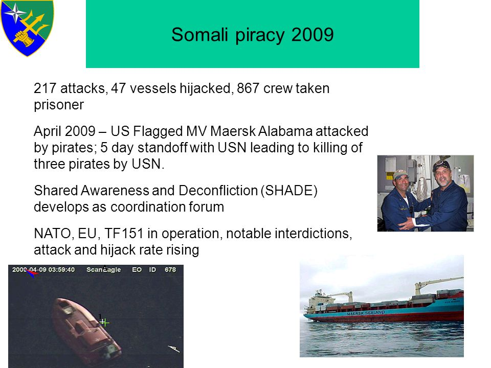 Somali Piracy 2010 - 23 ships held, half used as mother ships; 400+ prisoners - Interdiction rates up; 40 pirate groups disrupted - Attacks moving far outside transit lane; Indian Ocean, Seychelles