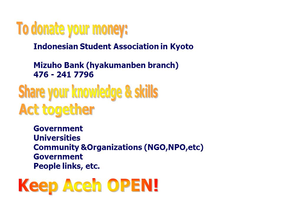 Indonesian Student Association in Kyoto Mizuho Bank (hyakumanben branch) 476 - 241 7796 Government Universities Community &Organizations (NGO,NPO,etc)