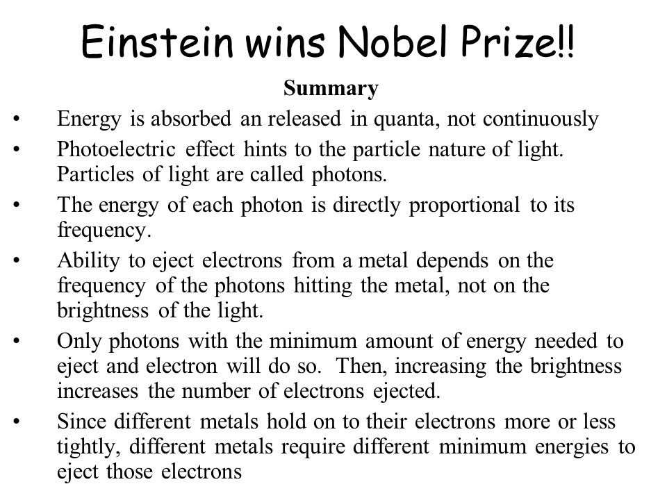 Einstein wins Nobel Prize!.