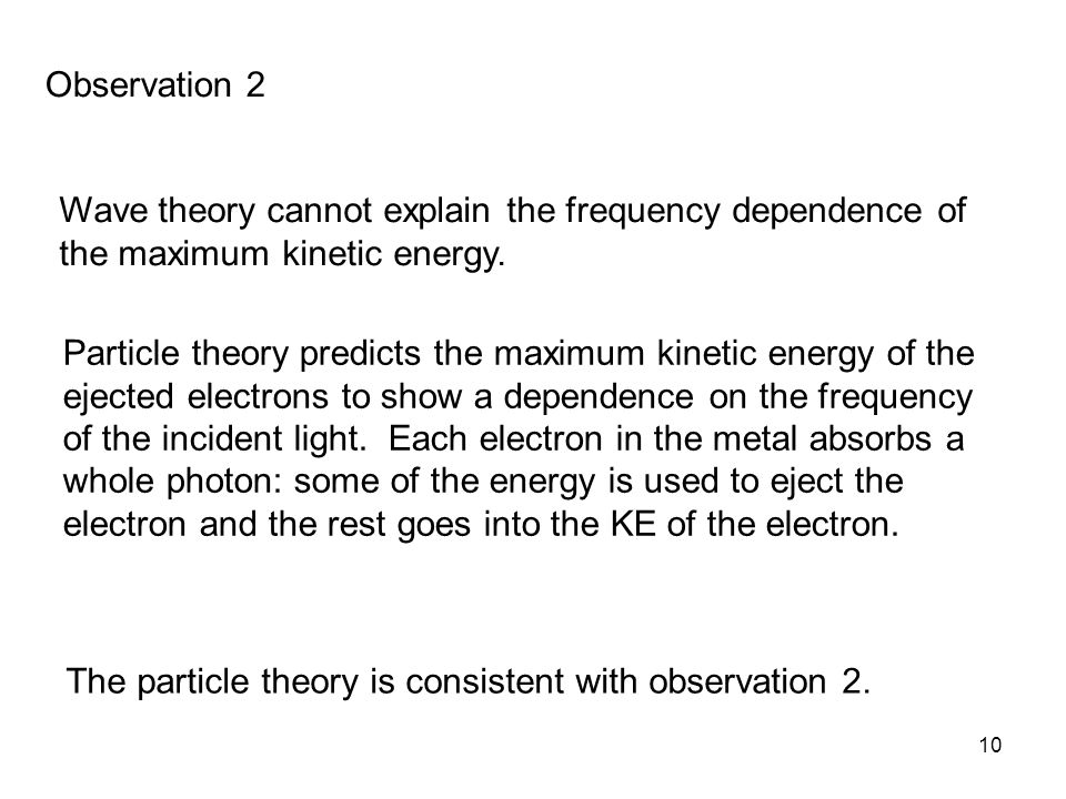 10 Wave theory cannot explain the frequency dependence of the maximum kinetic energy.