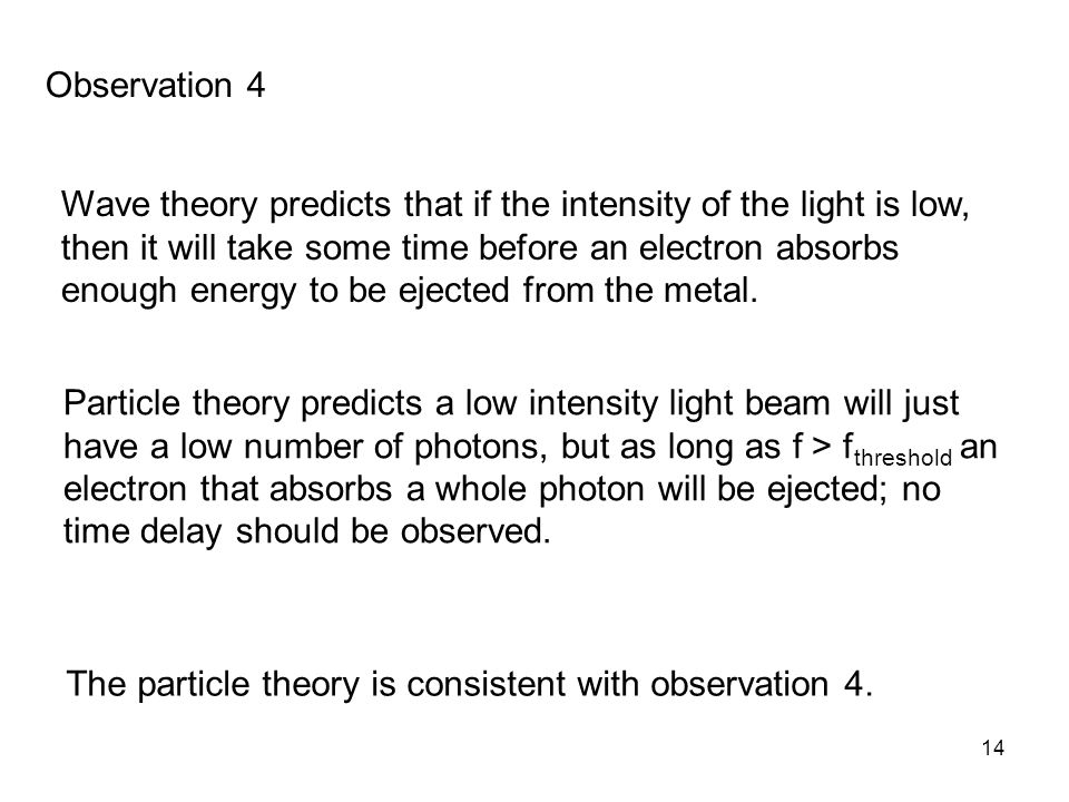 14 Wave theory predicts that if the intensity of the light is low, then it will take some time before an electron absorbs enough energy to be ejected from the metal.