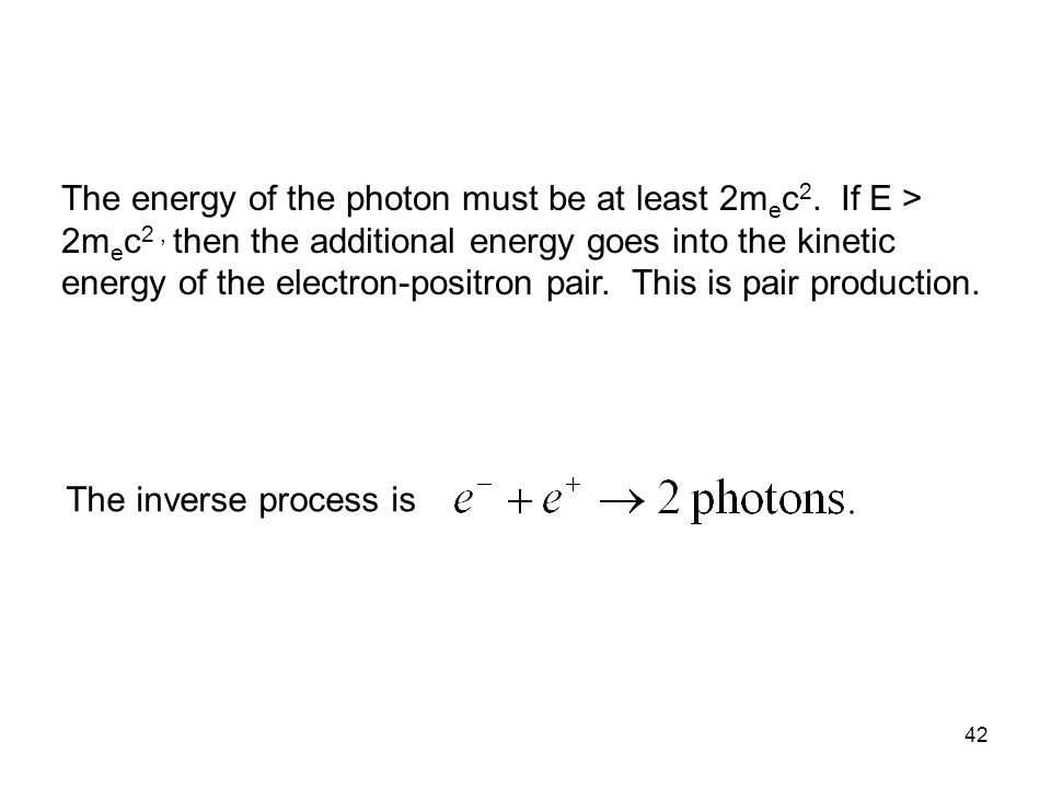42 The energy of the photon must be at least 2m e c 2.