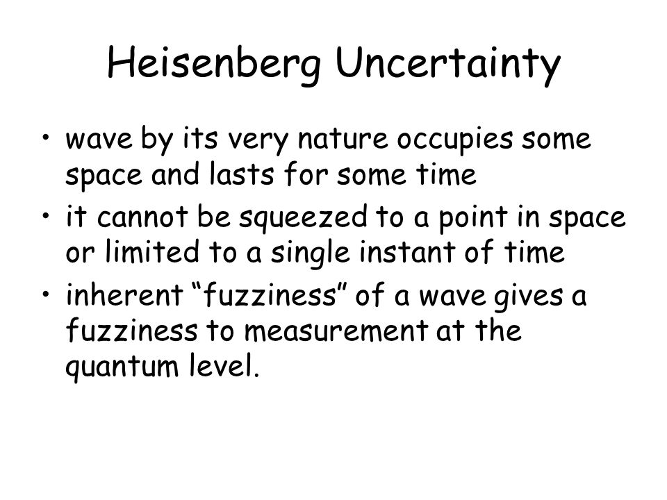 Heisenberg Uncertainty wave by its very nature occupies some space and lasts for some time it cannot be squeezed to a point in space or limited to a single instant of time inherent fuzziness of a wave gives a fuzziness to measurement at the quantum level.