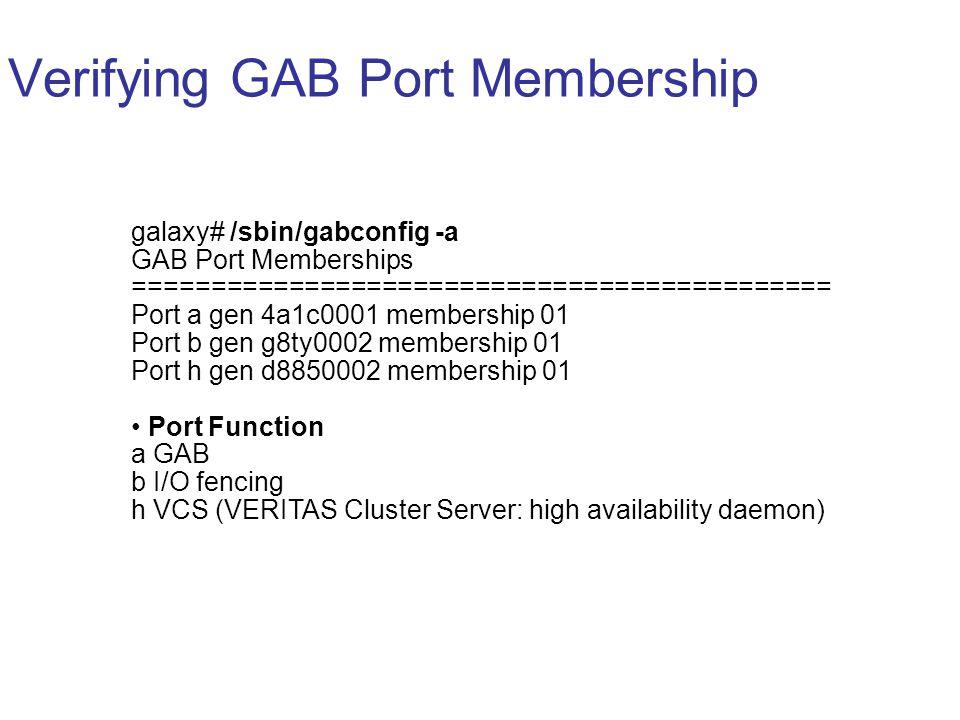 Verifying GAB Port Membership galaxy# /sbin/gabconfig -a GAB Port Memberships ============================================= Port a gen 4a1c0001 membership 01 Port b gen g8ty0002 membership 01 Port h gen d8850002 membership 01 Port Function a GAB b I/O fencing h VCS (VERITAS Cluster Server: high availability daemon)