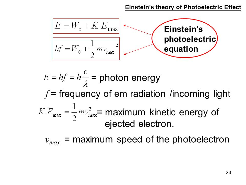 24 = photon energy Einstein's theory of Photoelectric Effect = maximum kinetic energy of ejected electron. f = frequency of em radiation /incoming lig