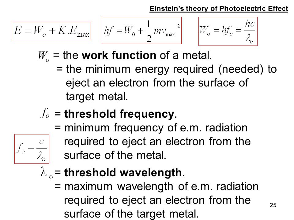 25 f o = threshold frequency. = minimum frequency of e.m. radiation required to eject an electron from the surface of the metal. W o = the work functi