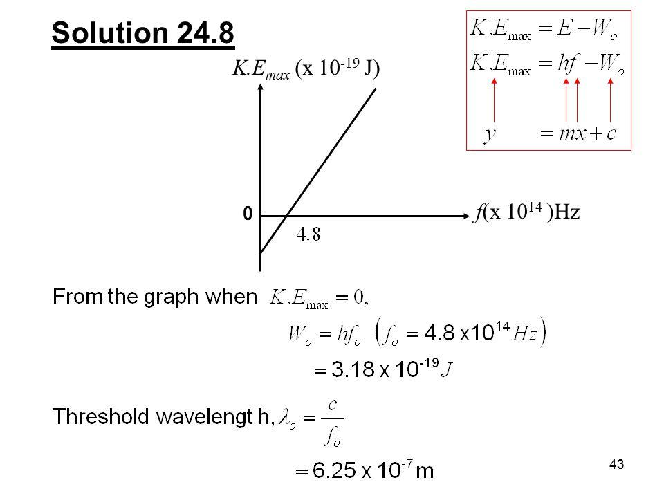 43 Solution 24.8 K.E max (x 10 -19 J) f(x 10 14 )Hz 0