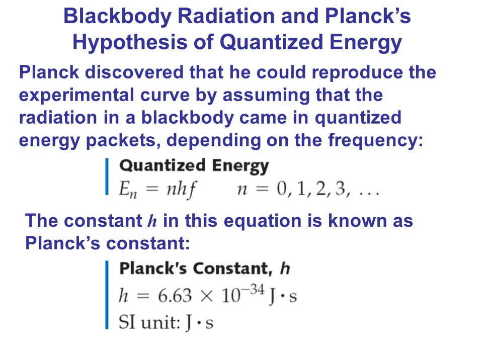 Blackbody Radiation and Planck's Hypothesis of Quantized Energy Planck discovered that he could reproduce the experimental curve by assuming that the
