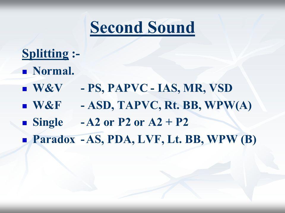 Second Sound Splitting :- Normal.W&V- PS, PAPVC - IAS, MR, VSD W&F- ASD, TAPVC, Rt.