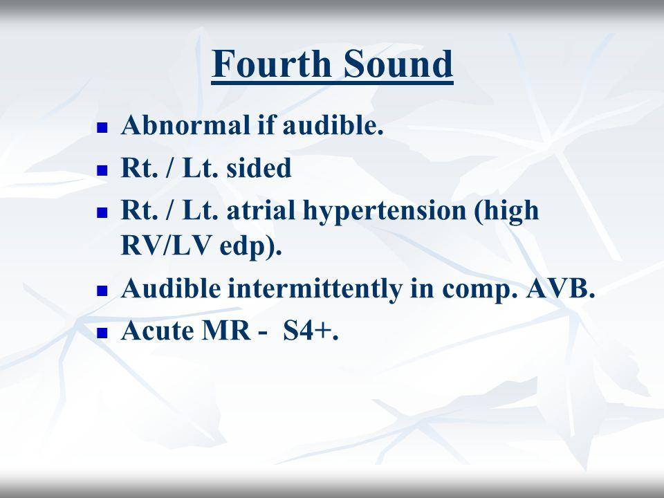 Fourth Sound Abnormal if audible. Rt. / Lt. sided Rt. / Lt. atrial hypertension (high RV/LV edp). Audible intermittently in comp. AVB. Acute MR - S4+.