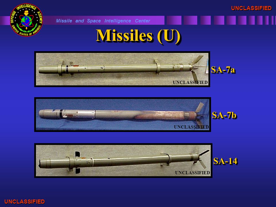 Missiles (U) Missile and Space Intelligence Center UNCLASSIFIED UNCLASSIFIED SA-7bSA-7b UNCLASSIFIED SA-14SA-14 SA-7aSA-7a