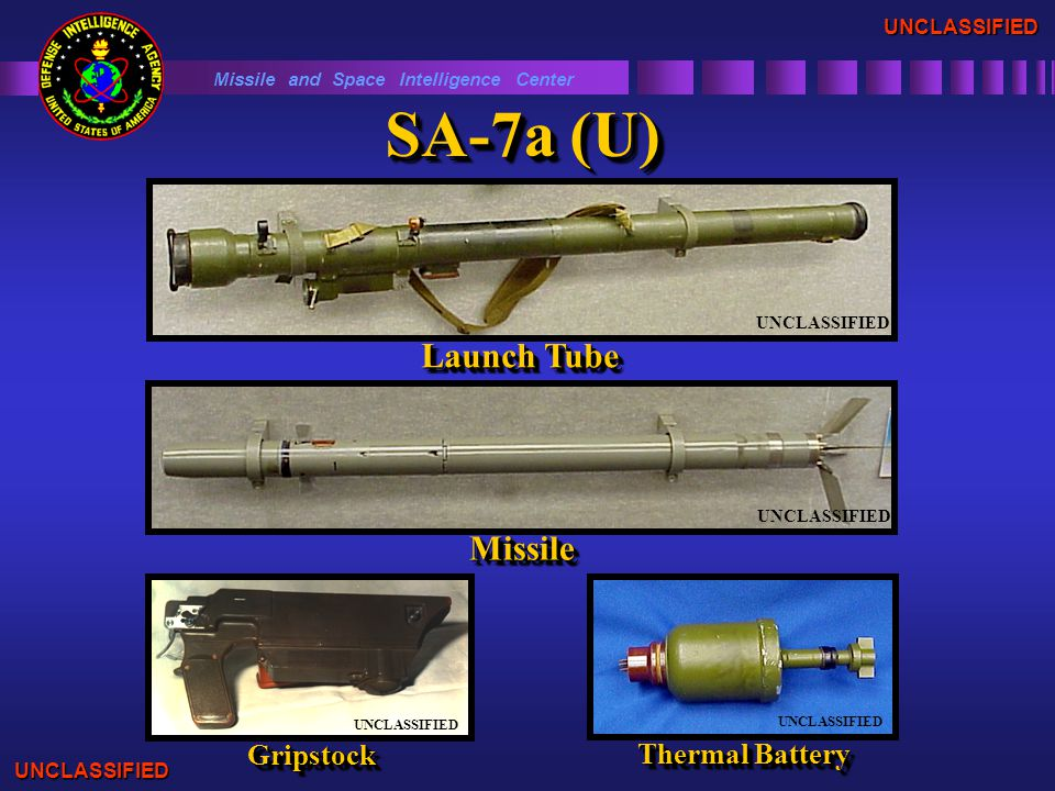 SA-7a (U) Missile and Space Intelligence Center Launch Tube UNCLASSIFIED MissileMissile GripstockGripstock UNCLASSIFIED UNCLASSIFIED Thermal Battery UNCLASSIFIED