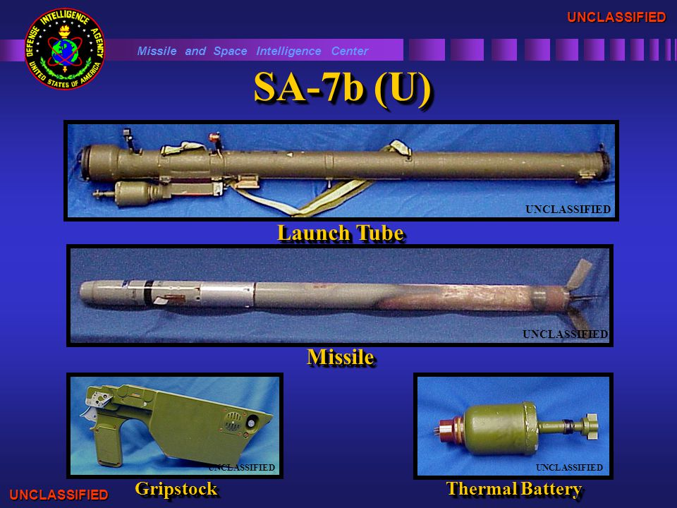 SA-7b (U) Missile and Space Intelligence Center Launch Tube UNCLASSIFIED MissileMissile GripstockGripstock Thermal Battery UNCLASSIFIED UNCLASSIFIED UNCLASSIFIED