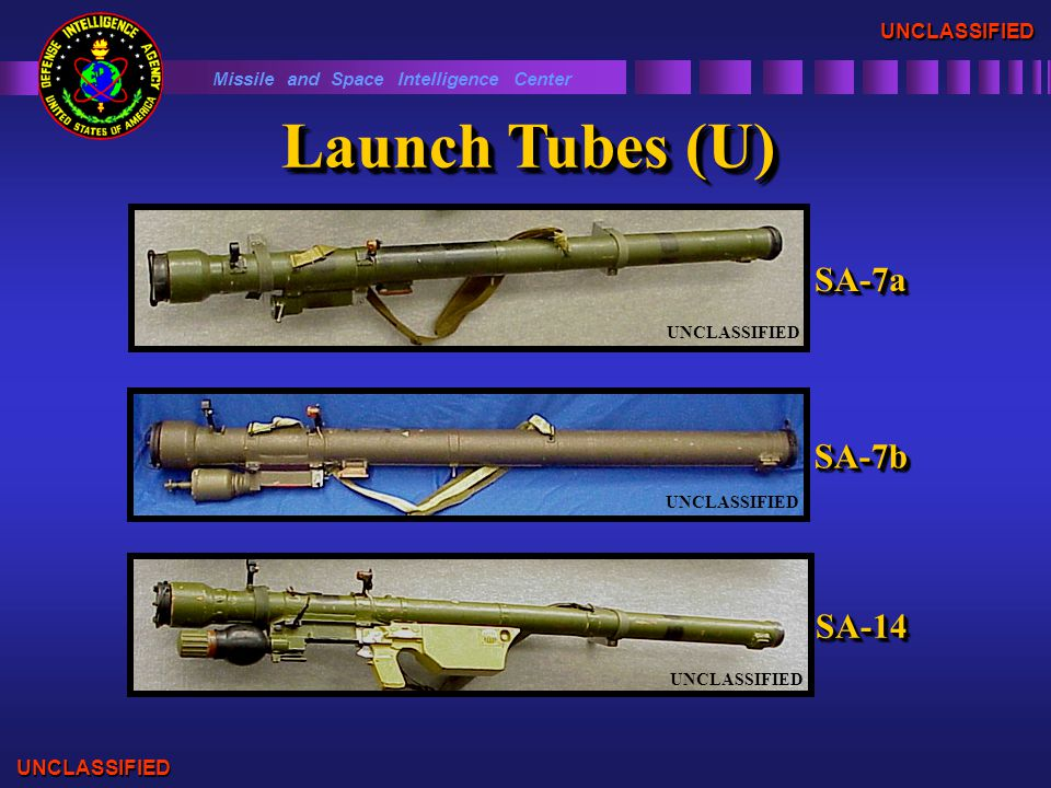 Missile and Space Intelligence Center UNCLASSIFIED UNCLASSIFIED SA-7bSA-7b UNCLASSIFIED SA-14SA-14 Launch Tubes (U) SA-7aSA-7a UNCLASSIFIED