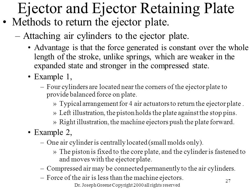 Dr. Joseph Greene Copyright 2000 all rights reserved 27 Ejector and Ejector Retaining Plate Methods to return the ejector plate. –Attaching air cylind
