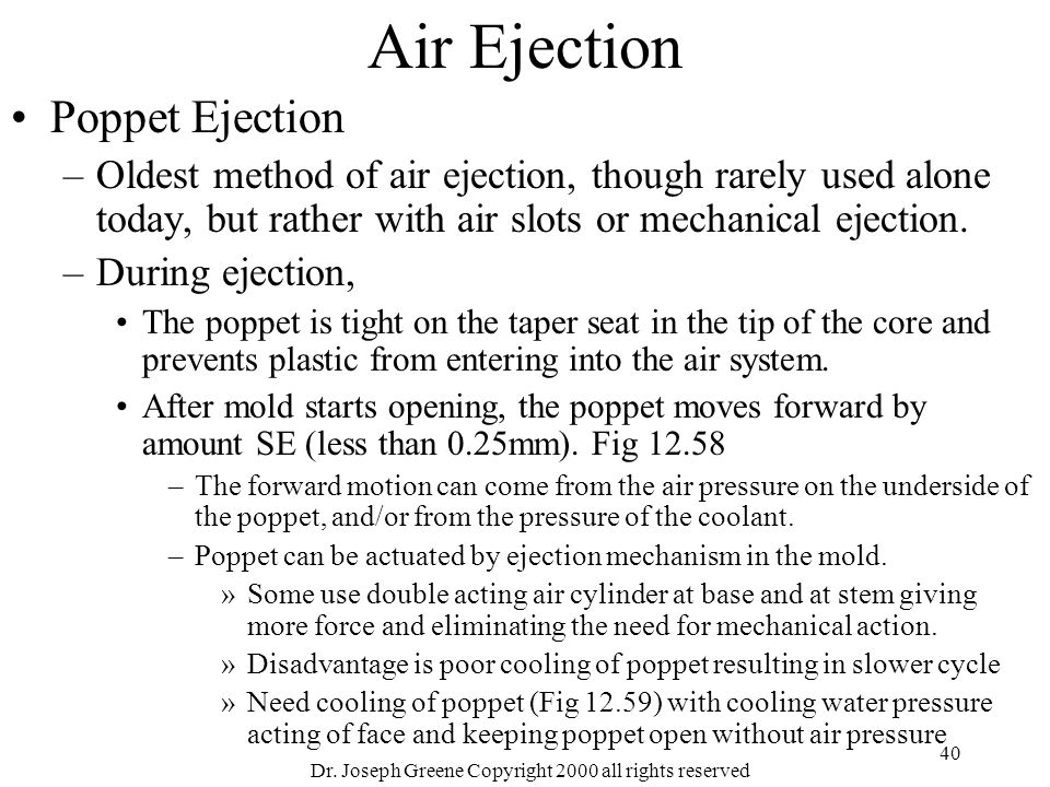 Dr. Joseph Greene Copyright 2000 all rights reserved 40 Air Ejection Poppet Ejection –Oldest method of air ejection, though rarely used alone today, b