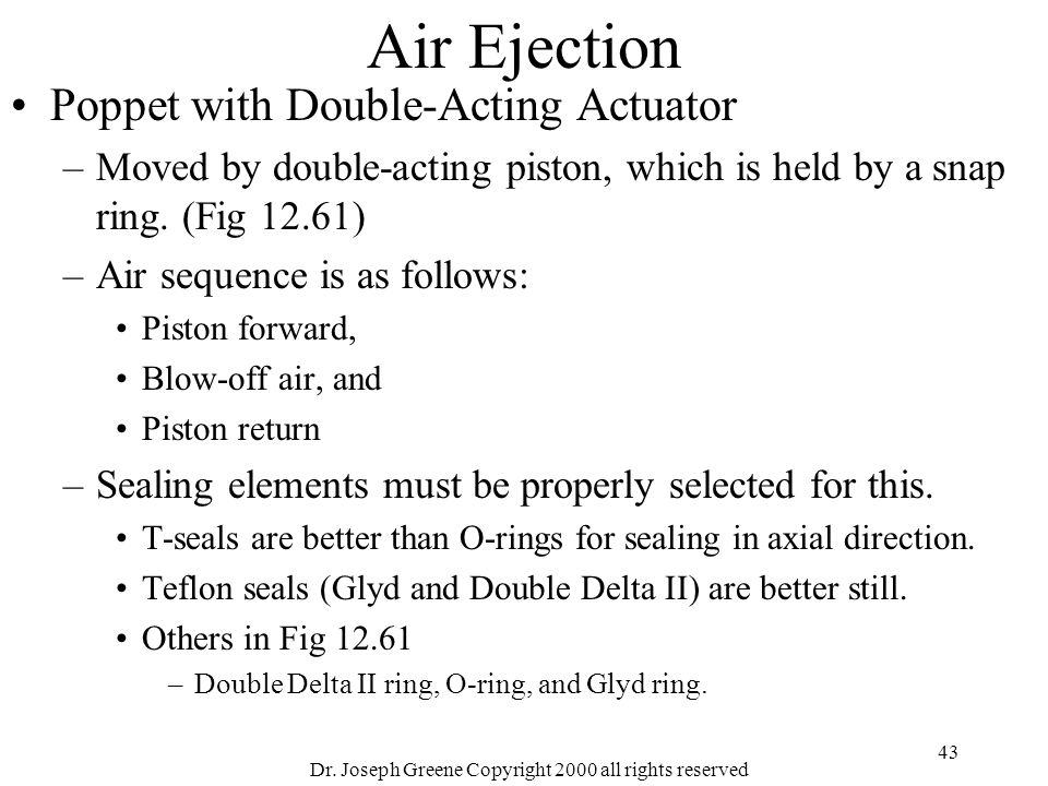 Dr. Joseph Greene Copyright 2000 all rights reserved 43 Air Ejection Poppet with Double-Acting Actuator –Moved by double-acting piston, which is held