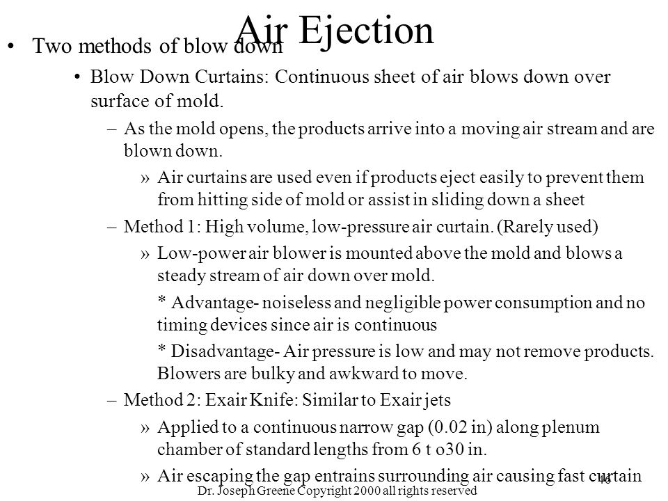 Dr. Joseph Greene Copyright 2000 all rights reserved 46 Air Ejection Two methods of blow down Blow Down Curtains: Continuous sheet of air blows down o