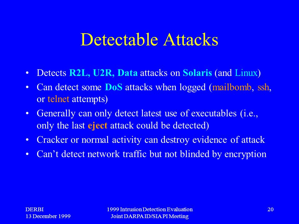 DERBI 13 December 1999 1999 Intrusion Detection Evaluation Joint DARPA ID/SIA PI Meeting 20 Detectable Attacks Detects R2L, U2R, Data attacks on Solar