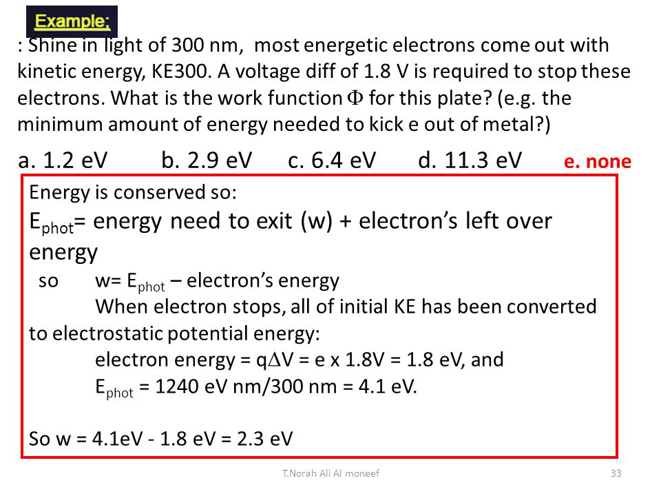 32 A photon at 300 nm will kick out an electron with an amount of kinetic energy, KE 300.