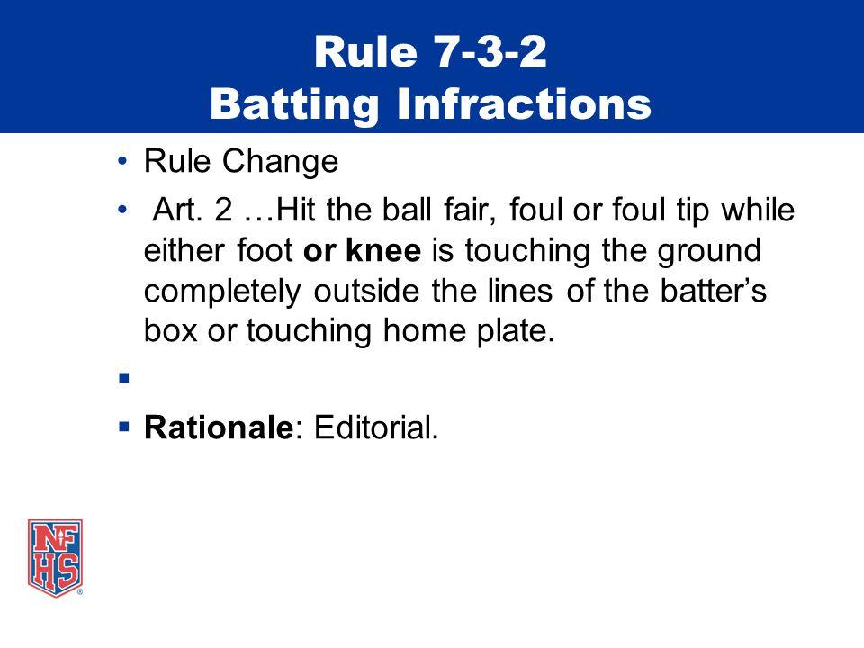 Rule 7-3-2 Batting Infractions Rule Change Art.