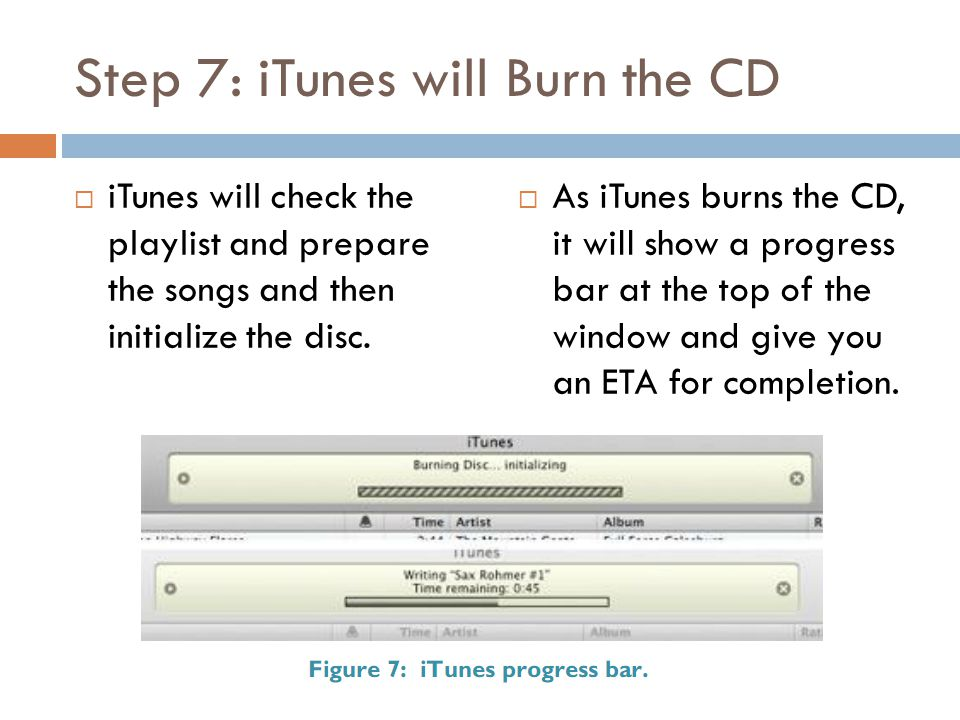 Step 7: iTunes will Burn the CD  iTunes will check the playlist and prepare the songs and then initialize the disc.