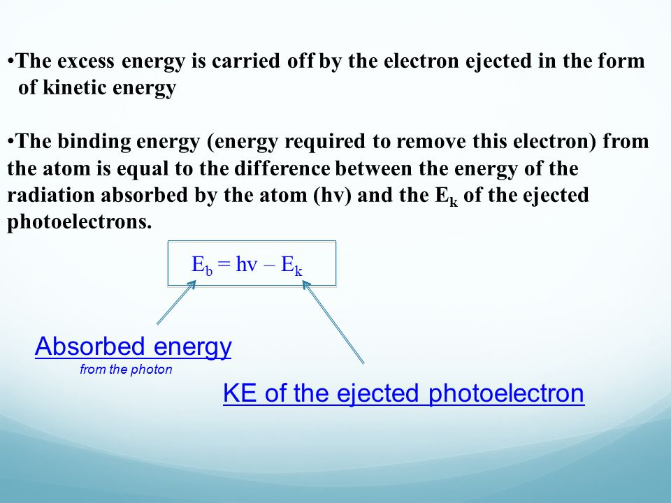 The excess energy is carried off by the electron ejected in the form of kinetic energy The binding energy (energy required to remove this electron) from the atom is equal to the difference between the energy of the radiation absorbed by the atom (hv) and the E k of the ejected photoelectrons.