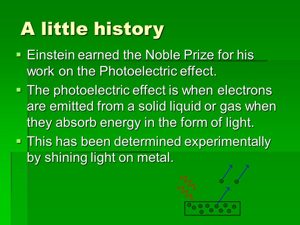 A little history  Einstein earned the Noble Prize for his work on the Photoelectric effect.