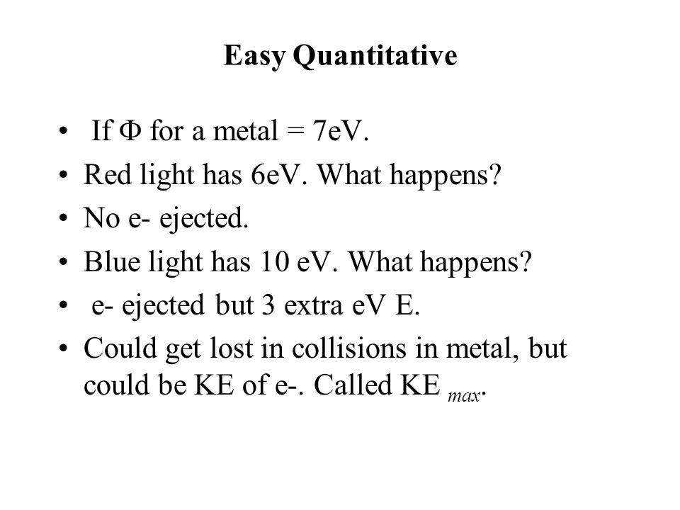 Easy Quantitative If  for a metal = 7eV. Red light has 6eV. What happens? No e- ejected. Blue light has 10 eV. What happens? e- ejected but 3 extra