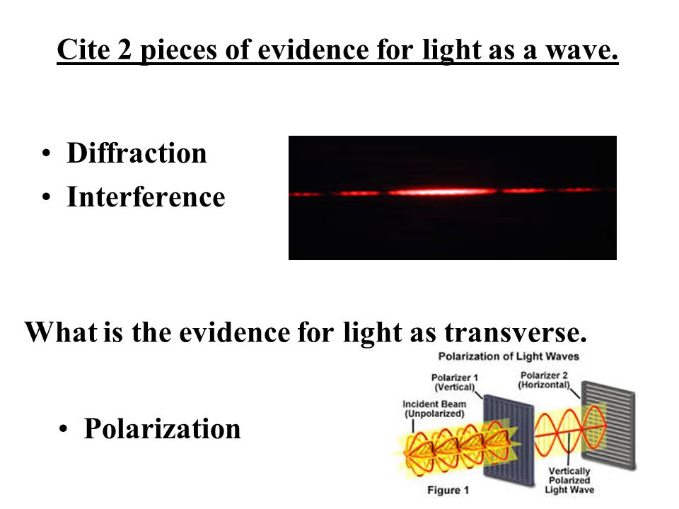 Cite 2 pieces of evidence for light as a wave.