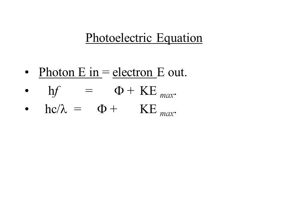 Photoelectric Equation Photon E in = electron E out. hf =  + KE max. hc/ =  + KE max.