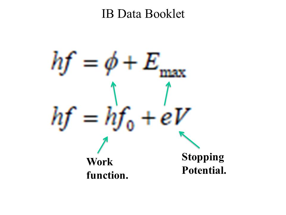 IB Data Booklet Work function. Stopping Potential.