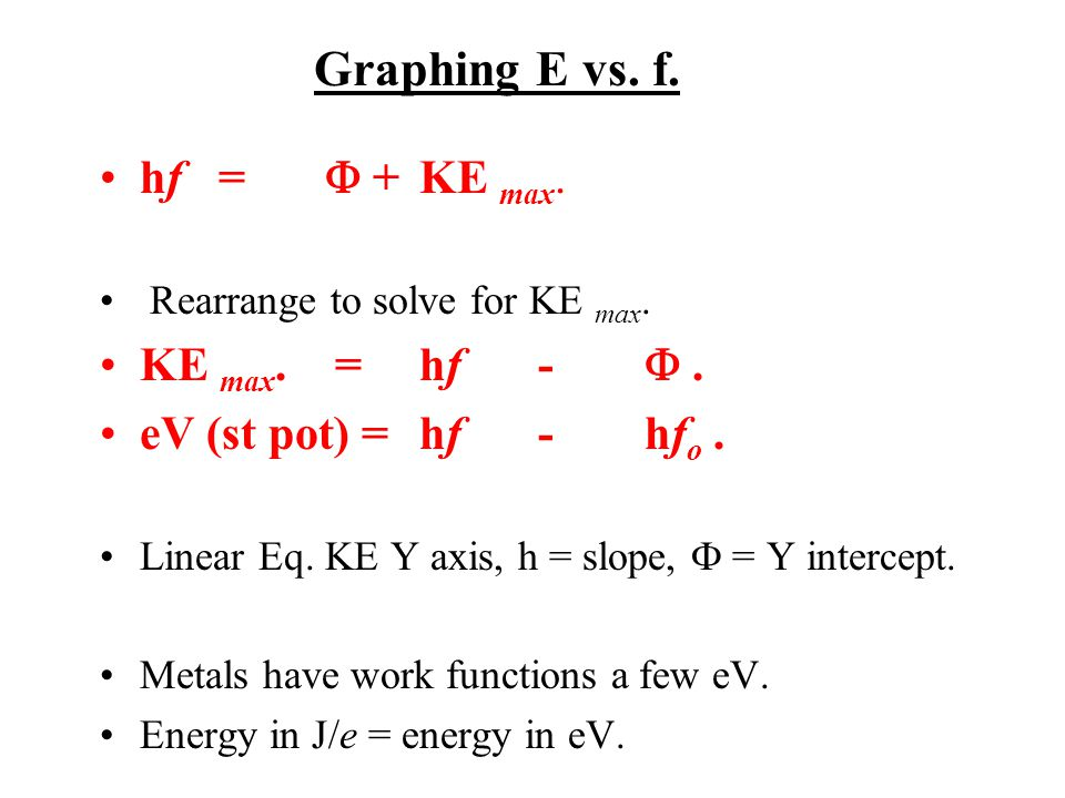 Graphing E vs. f. hf =  + KE max. Rearrange to solve for KE max.