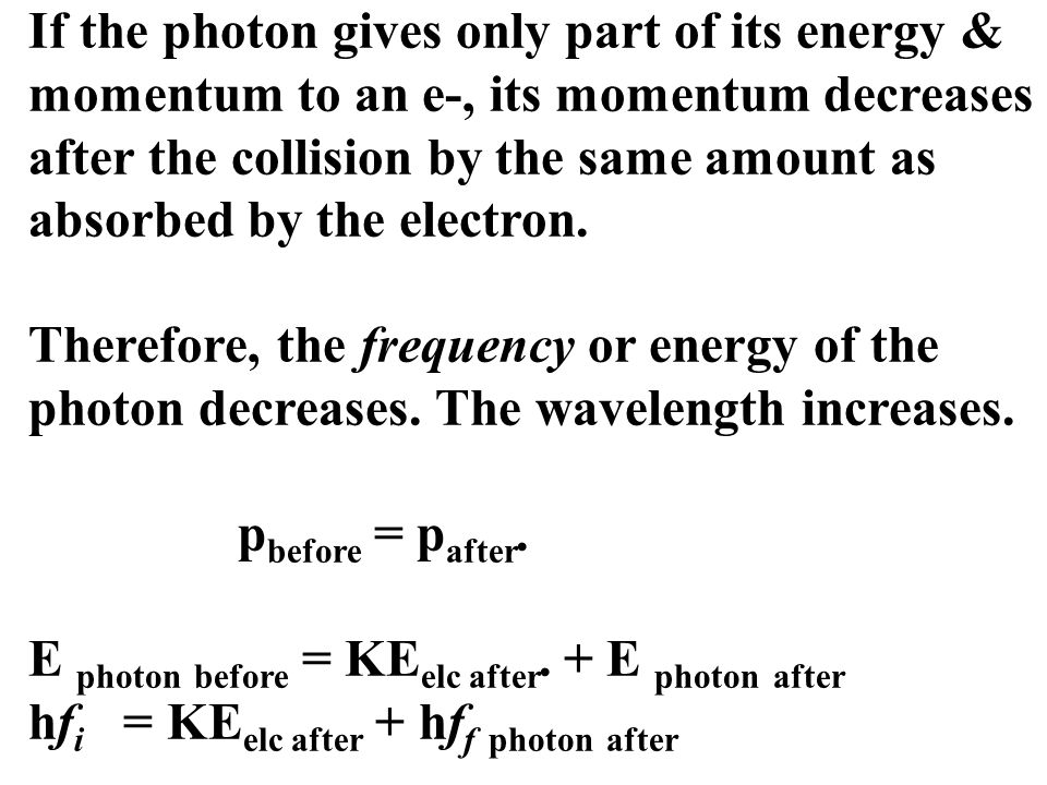 If the photon gives only part of its energy & momentum to an e-, its momentum decreases after the collision by the same amount as absorbed by the elec