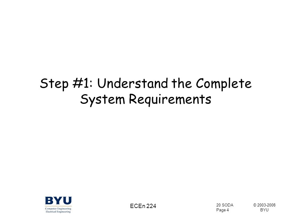 © 2003-2008 BYU 20 SODA Page 4 ECEn 224 Step #1: Understand the Complete System Requirements